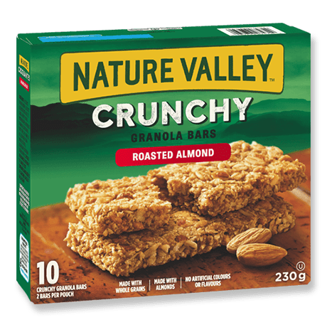 A box of Nature Valley Roasted Almond Crunchy Granola Bars