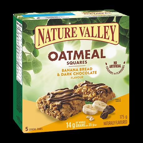 A box of Nature Valley Banana Bread Dark Chocolate Oatmeal Squares