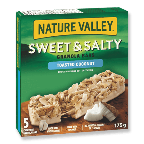A box of Nature Valley Toasted Coconut Sweet and Salty Granola Bars