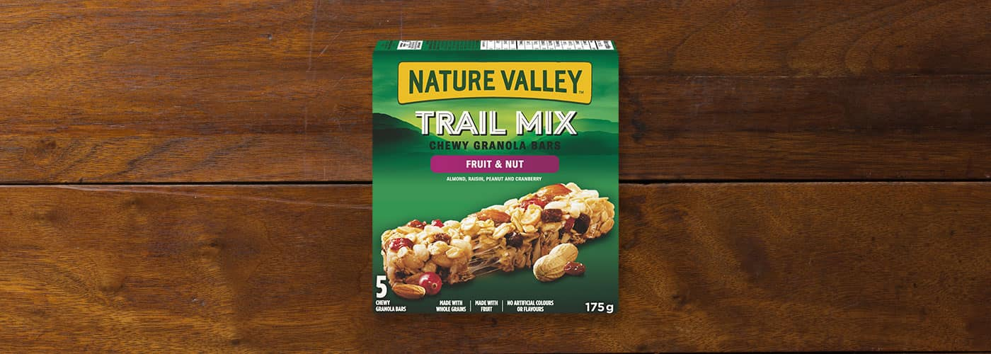 A box of Nature Valley Fruit and Nut Trail Mix Chewy Granola Bars